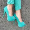 turkuaz yeni moda topuklu ayakkabı