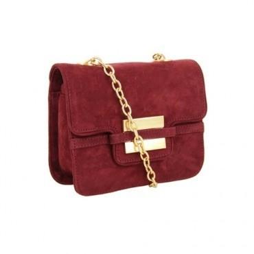 bordo son moda zincirli çanta modeli