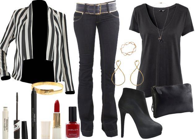 siyah beyaz pantolon kombin modeli